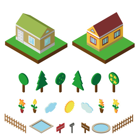 3d bungalow: Isometric house,modern 3D style.Vector illustration.Isomatic icons.Small house,trees and fence,pool and flowers,Yard,Green Grass and sun. Property Isolated objects.Summer party.Nature