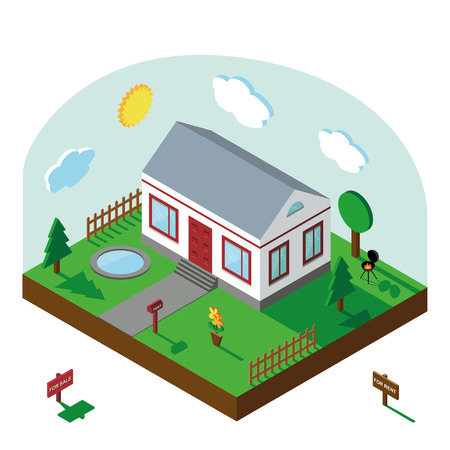 the courtyard: Isometric house,modern 3D style.Vector illustration.Isomatic landscape village with small house,trees and fence,pool,flowers,Yard,Green Grass and barbecue.Property Isolated courtyard in American style.Summer party