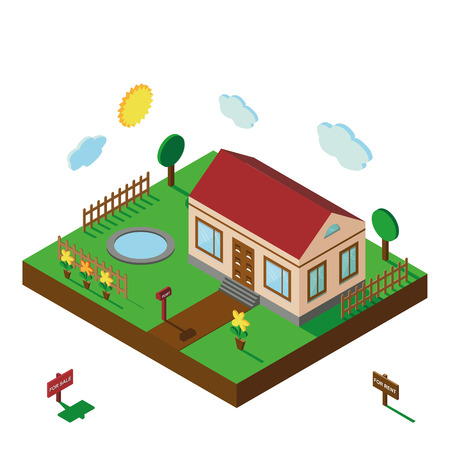 architecture bungalow: Isometric house,modern 3D style.Vector illustration.Isomatic landscape village with small house,trees,fence,pool,flowers,Yard,Green Grass,Mailbox.Property Isolated courtyard in American style.Summer party Illustration