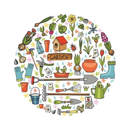 seedlings: Spring garden.Hand drawn flowers,bulb, garden tool,boarding equipment in circle composition.Vector garden sketch.Spring Gardening isolated elements,planting spring symbols,seedlings,vintage vector