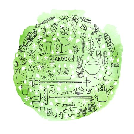 greeen: Spring garden.Hand drawn flowers,bulb, garden tool,boarding equipment in circle composition.Vector garden sketch.Watercolor greeen splash.Spring Gardening ,planting spring symbols,vintage vector