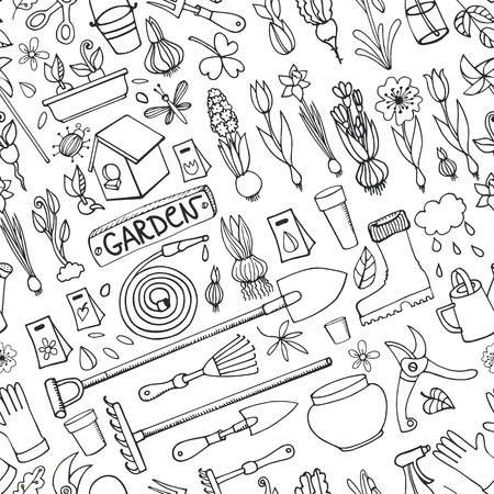 seedlings: Spring garden seamless pattern.Hand drawn flowers,bulb, garden tool,boarding equipment background.Vector garden sketch elements.Spring Gardening ,planting spring symbols,seedlings,vintage vector elements