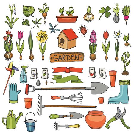 seedlings: Spring garden set.Hand drawn flowers,bulb, garden tool,boarding equipment.Vector garden sketch elements.Spring Gardening isolated icon set,planting spring symbols,seedlings,vintage vector elements Illustration