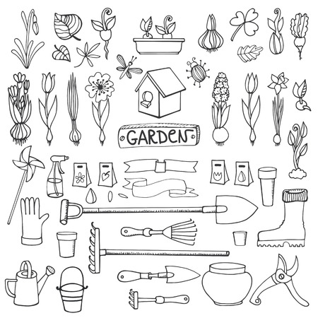 Spring garden set.Hand drawn flowers,bulb, garden tool,boarding equipment.Vector garden sketch elements.Spring Gardening isolated icon set,planting spring symbols,seedlings,vintage vector elements