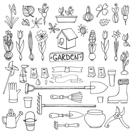 春天庭院集合。手拉的花,灯泡,庭院工具,登机设备。传染媒介庭院剪影元素.spring从事园艺孤立的象集合,种植春天标志,幼木,葡萄酒传染媒介元素