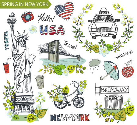 new york taxi: Spring in New York,USA,floral decor.Vector Doodles.American travel symbols in hand drawn sketch,sign of landmark,lettering.Vintage Illustration,background. Brookline bridge,Statue Of Liberty,taxi.