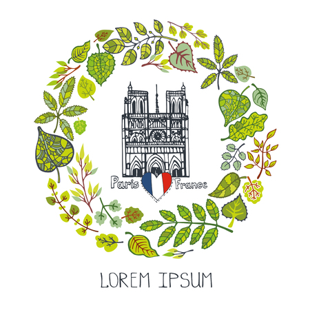 dame: Paris Famous landmarks with green spring leaves wreath,round compositions.Vintage Vector doodle  sketchy.Notre Dame cathedral art.Fall design template,illustration,poster.