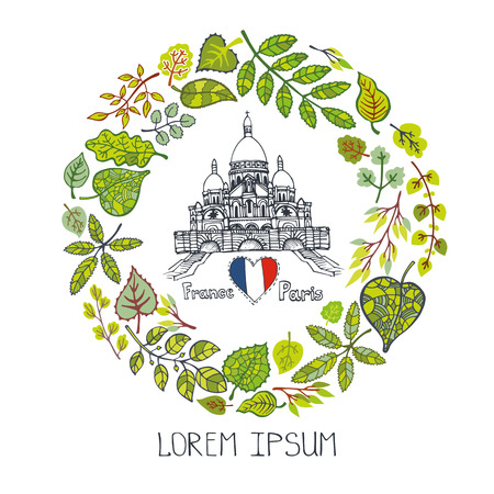 coeur: Spring in Paris,Famous landmarks with green leaves wreath,round compositions.Vintage Vector doodle sketchy.Sacre Coeur Montmartre art.Design template,Vector illustration,poster.