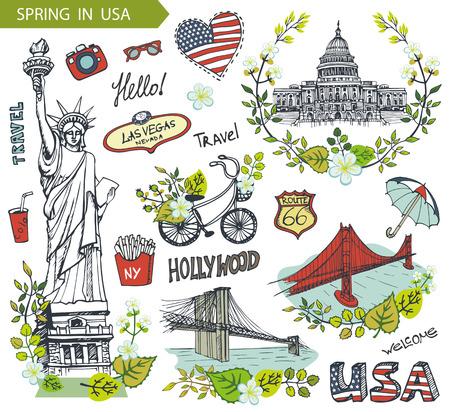 bridge hand: Spring in USA,floral decor.Vector Doodles.American travel symbols in hand drawn sketch,sign of landmark,lettering.Vintage Illustration,background. Golden gate,Brookline bridge,Statue Of Liberty,Capitol