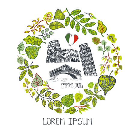 Spring in Italy.Famous landmarks with green leaves wreath,circle  composition.Vintage Vector,hand drawn doodle sketchy.Italian art symbol Coliseum,Leaning Tower of Pisa, Bridge of kisses