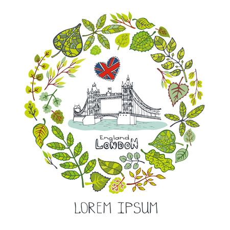 capital building: Spring in London.Famous landmarks with green leaves wreath,circle compositions.Vintage doodle sketchy.Vector spring decor.Tower Bridge,capital building art.Design template,Vector illustration.