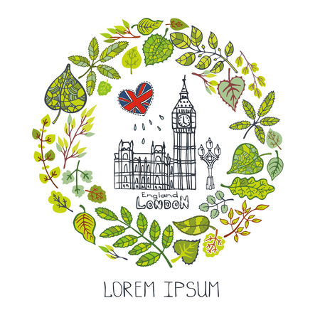capital building: Spring in London.Famous landmarks with green leaves wreath,cicle compositions.Vintage Vector,doodle sketchy.Big Ben capital building art ,symbol.Design template,Vector illustration.
