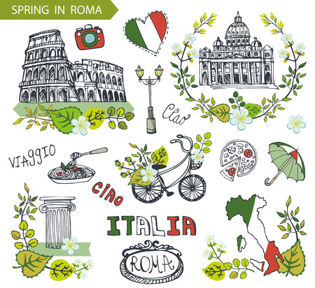 Italy Rome Famous landmarks with Spring wreath.Vector compositions,green leaves,flowers,bike and umbrella.Vintage hand drawn doodle sketchy.Italian travell,hello.Coliseum,Vatican,food
