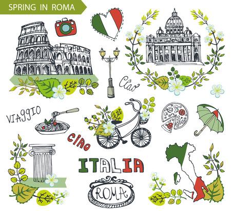 Las señales famosas de Italia en Roma con composiciones de primavera wreath.Vector, hojas verdes, flores, bicicletas y dibujado a mano doodle de travell sketchy.Italian umbrella.Vintage, hello.Coliseum, Vaticano, comida