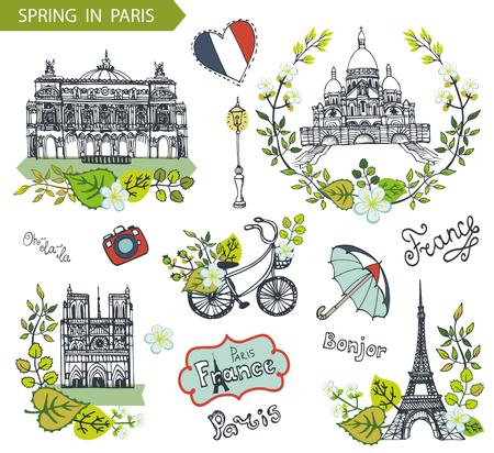 coeur: Spring in Paris.Famous landmarks with green leaves wreath,Vector compositions.Vintage doodle  sketchy.Notre Dame,Eiffel tower,Sacre Coeur,Grand Opera,lettering,bike and umbrella.Illustration template. Illustration