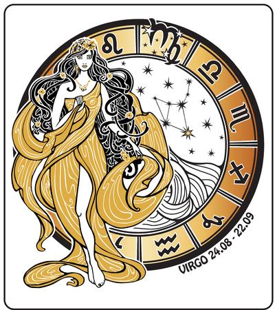 Maagd sterrenbeeld. Mooi wijfje in de Griekse chiton jurk en vloeiend haar staat met horoscoop cirkel en sterrenbeeldenbeeld. Vector illustratie in retro stijl, Vintage, Art Nouveau.