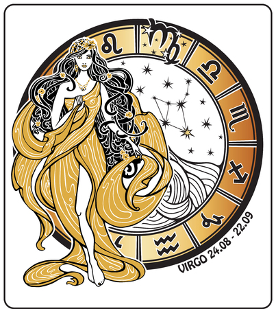 the art of divination: Virgo zodiac sign. Lovely female in the Greek chiton dress and flowing hair is standing with  horoscope circle and zodiac constellation. Vector illustration in retro style,Vintage , art Nouveau. Illustration