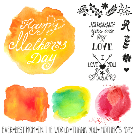 Mothers day.Watercolor steins headline catchword,flowers,branches design template.Cute  Greeting card ,invitation.Hand drawing painting.Bright colorful Vector Illustration
