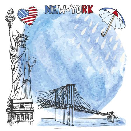 rein: New York.American symbols Statue of Liberty,Brooklyn Bridge in hand drawn sketch.Watercolor splash,rein,umbrella.Vector landmark,retro Illustration,background,design template.