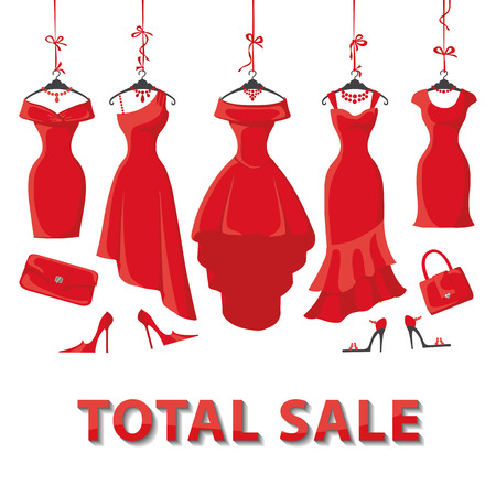 red dress: Red Woman dresses on a hanger and fashion accessories set.Summer sale party. Short and long elegant design lady dress,handbags,shoes collection.Vector art image illustration,background,template