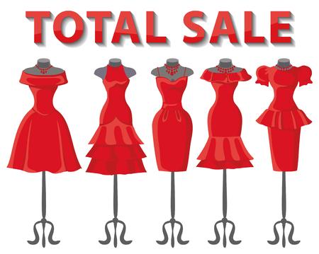 short skirt: Woman dresses on mannequins set.Summer fashion party. Short skirt elegant red color design lady dress  collection.Vector art image illustration.Total Sale background,template Illustration