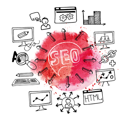 stein: Doodle hand draw scheme main activities related to seo with sketchy icon,Watercolor red stein background.Business concept .Vector illustration