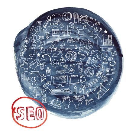 stein: Doodle hand drawing  sketchy seo  icons composition in watercolor blue ink stein background.Business concept . Vector circle  illustration