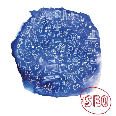 stein: Doodle hand drawing  sketchy seo  icons composition in watercolor blue stein background.Business concept . Vector illustration