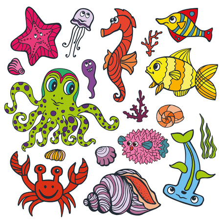 funny travel: Sea life animals set.Fish,  octopus, crab, seahorse with coral,seaweed and shell. Funny cartoon doodle underwater world. Baby hand drawing Vector,isolated . Summer travel, tropical composition.