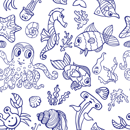 sea world: Sea life fish,animals seamless pattern,background.Funny cartoon doodle underwater world. Baby hand drawing linear Vector.Summer travel, tropical backdrop,wallpaper, fabric ornament.