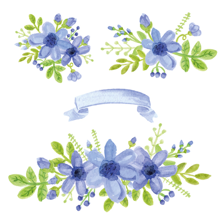 blue prints: Watercolor blue daisy flowers,green branches,leaves in bouquet set. Hand painted berries,floral,ribbon,petal decor elements.For design template,invitation.Holiday Vector,wedding