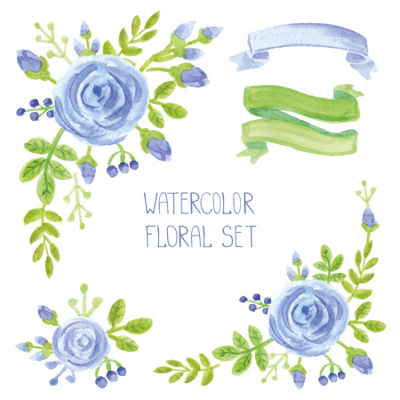 wedding bouquet: Watercolor blue flowers bouquet ,corners set. Hand painted berries,green branches ,floral,petal ,roses  decor elements,ribbons.For wedding design template,invitation.Holiday Vector
