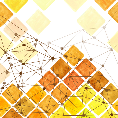 sund: Watercolor geometric abstract background, pattern.Colorful modern abstract summer background with  rhombus,square tile,linear web.Natural Yellow,brown colors.Wallpaper,backdrop,mosaic. Illustration