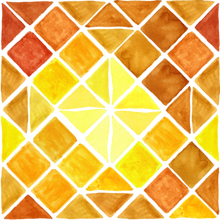 sund: Watercolor geometric abstract  seamless pattern background .Colorful modern texture.Triangle,rhombus and square tile,corner.Natural Yellow ,brown   warm colors.Wallpaper,backdrop mosaic. Illustration