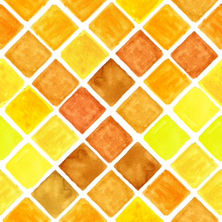 t square: Watercolor geometric seamless pattern.Colorful modern abstract summer  background with  rhombus,square tile.Natural Yellow,brown colors.Wallpaper,backdrop,fabric,mosaic.