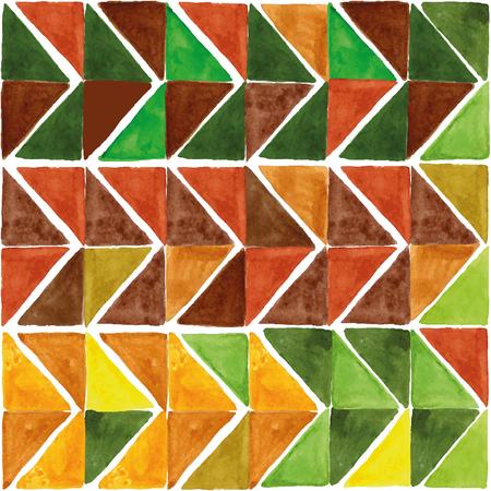 pintura abstracta: Acuarela geom�trica patr�n abstracto, baldosas tri�ngulo background.Colorful moderna texture.Natural amarillo, colors.Wallpaper marr�n y verde, fondo, tela, mosaico.