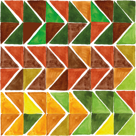 fabric art: Watercolor geometric abstract seamless pattern, triangle tile background.Colorful modern texture.Natural Yellow,brown and green colors.Wallpaper,backdrop,fabric,mosaic.