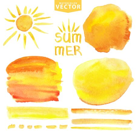 hot spot: Watercolor summer texture.Yellow Hand painting splash,stains,spot,brushes and sun set. Warm ,orange,hot sunny Bright design template.Party vector background.Holiday,vacation artistic template