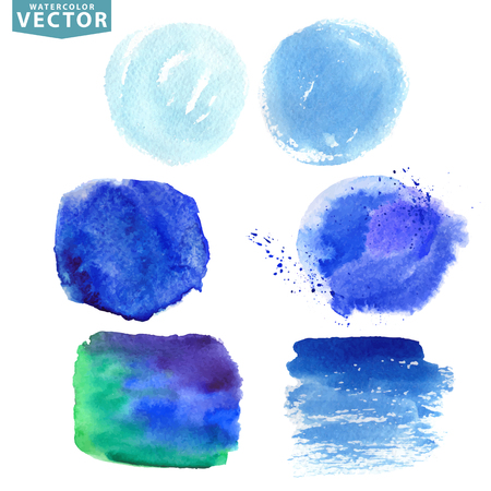 Watercolor hand painting texture splash,stains,spot,design elements.Summer vector background.Cool colors,blue sea,ocean,cyan sky and watter element. Bright design template. 版權商用圖片 - 54430515