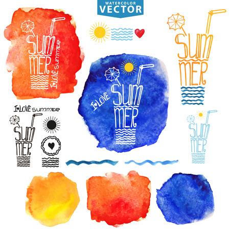 Abstracte achtergrond, logo.Watercolor vlekken, typografie titel zomer, glas drinken, zee golf, zon, lettering.Party flyer Template voor het schilderen van artistieke vormgeving. Vector illustratie, hand tekenen kunst