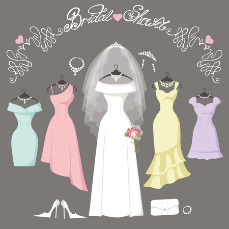 bridesmaid: Wedding dresses hanging.Fashion bride and bridesmaid Dress made in flat style.White dress,accessories set,flowers bouquet,veil,swirls.Holiday vector background.Bridal shower composition Illustration