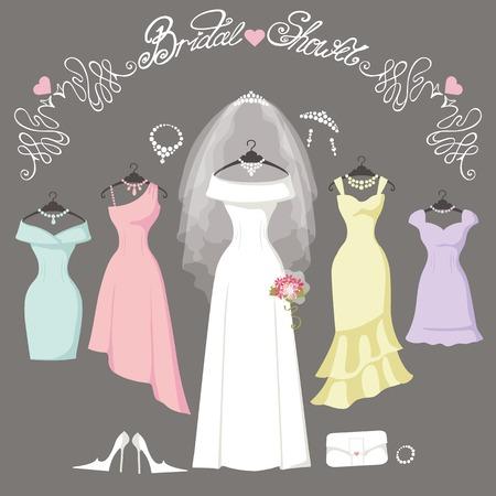 Brautkleider hanging.Fashion Braut und Brautjungfer Kleid gemacht in flachen style.White Kleid, Zubehör-Set, Blumen Bouquet, Schleier, swirls.Holiday Vektor background.Bridal Dusche Zusammensetzung