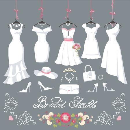Robes de mariée hanging.Fashion mariée courte robe faite en robe de style.White plat, accessoires fixé, fleurs composition de douche bouquet.Holiday vecteur background.Bridal dans différents styles Vecteurs