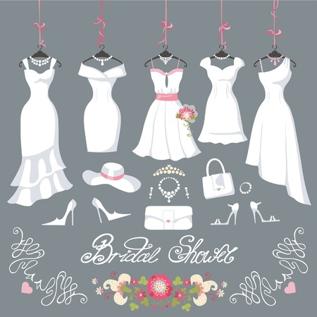 Wedding dresses hanging.Fashion bride short Dress made in flat style.White dress,accessories set,flowers bouquet.Holiday vector background.Bridal shower composition in Different styles