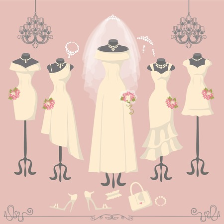 bridesmaid: Wedding dresses on mannequin.Fashion bride and bridesmaid wear.White dress,accessories set,flowers bouquet,veil,swirls and chandelier.Bridal shower composition.Holiday vector background. Illustration