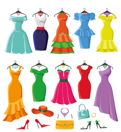 short skirt: Woman dresses on a hsnger and accessories set.Summer party. Short and long elegant bright color design,ten lady dress ,handbags,hat,shoes collection.Vector art image illustration,isolated on background