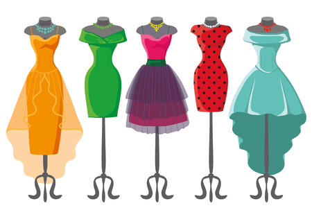 short dress: Woman dresses on a mannequin.Summer fashion party. Short and long elegant bright color polka dot design lady dress collection. Vector art image illustration, isolated on background Illustration
