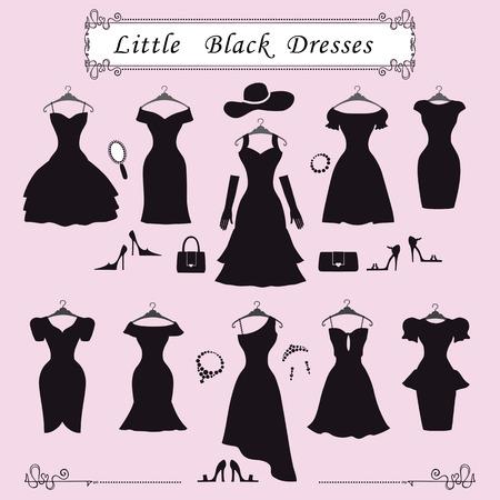 Fashion dress.Different stijlen van kleine zwarte feestjurken Silhouette set. Samenstelling die in moderne flat vector style.Handbag, hoge hakken, sieraden decoratie, wervelende frame.Isolated Illustratie
