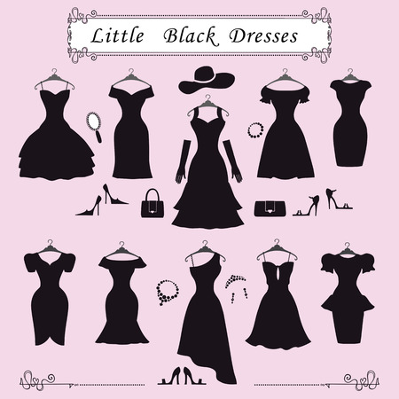 Fashion dress.Different styles of little black party dresses Silhouette set. Composition made in modern flat vector style.Handbag,high heel shoes,jewelry decoration, swirling frame.Isolated Illustration Vettoriali