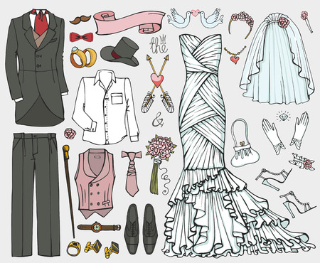stag party: Wedding fashion wear.Doodle bride dress,groom suit.Vintage clothing set.Hand drawn Vector Illustration,sketch.Retro  kit.Bridal shower elements,holiday icons.For invitation card.Bachelor,stag party Illustration